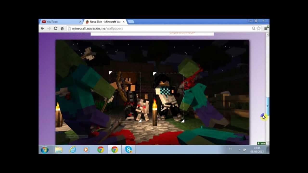Como Usar a Wallpaper Minecraft NOVA Skin 1280x720