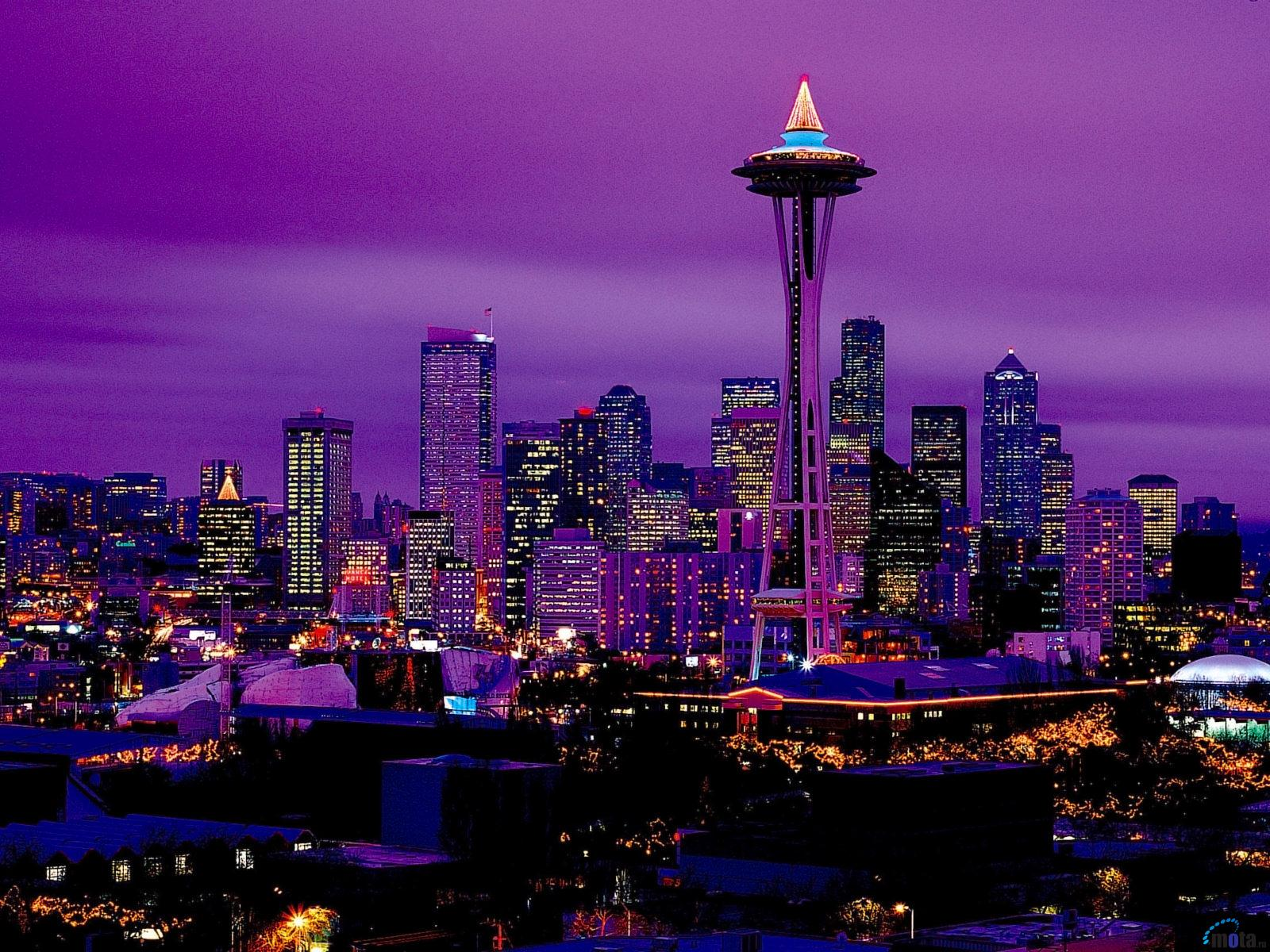 Download Wallpaper Seattle by night Washington USA 1600 x 1200 1600x1200