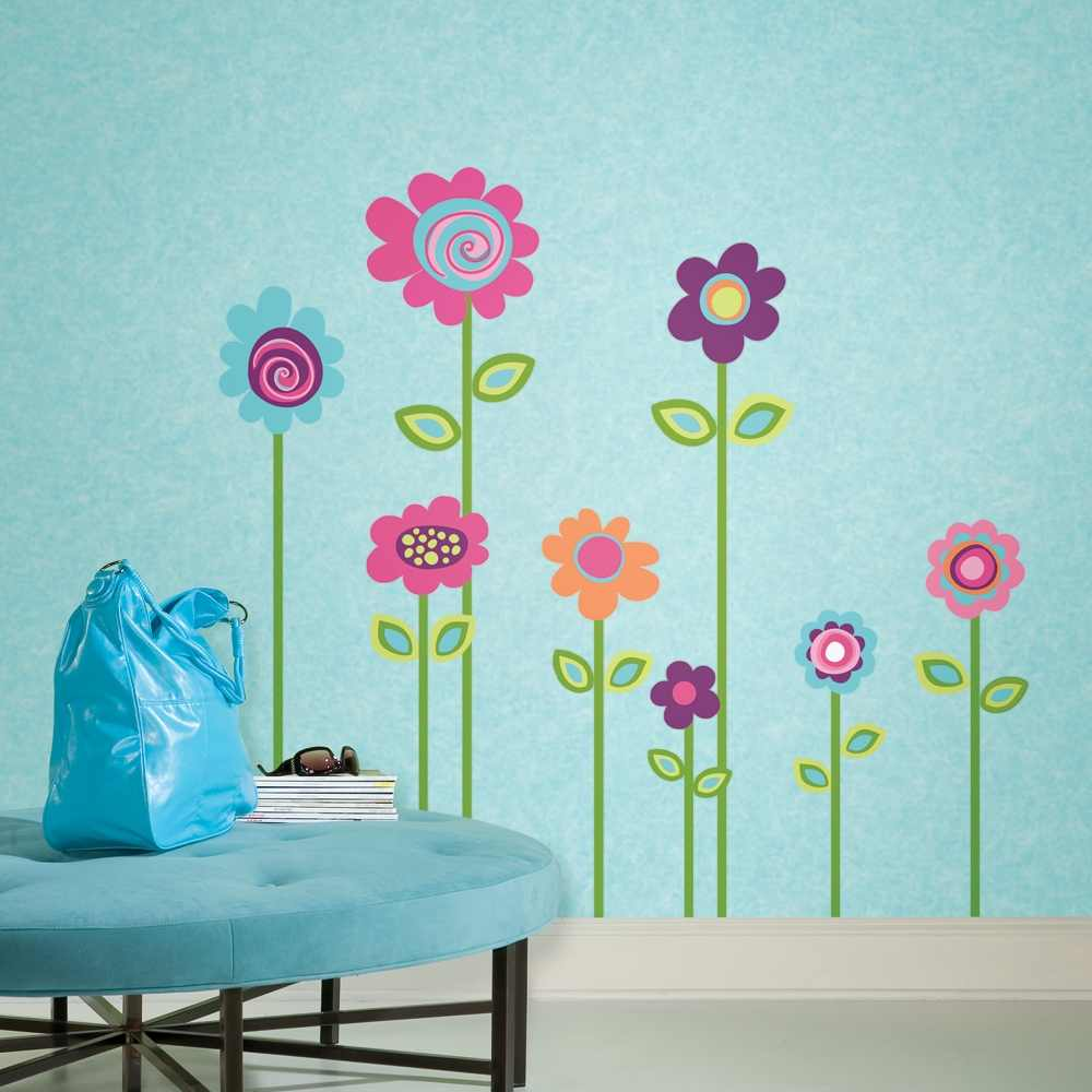 Removable Wall Decals Flower Stripe Giant Wall Decals 1000x1000