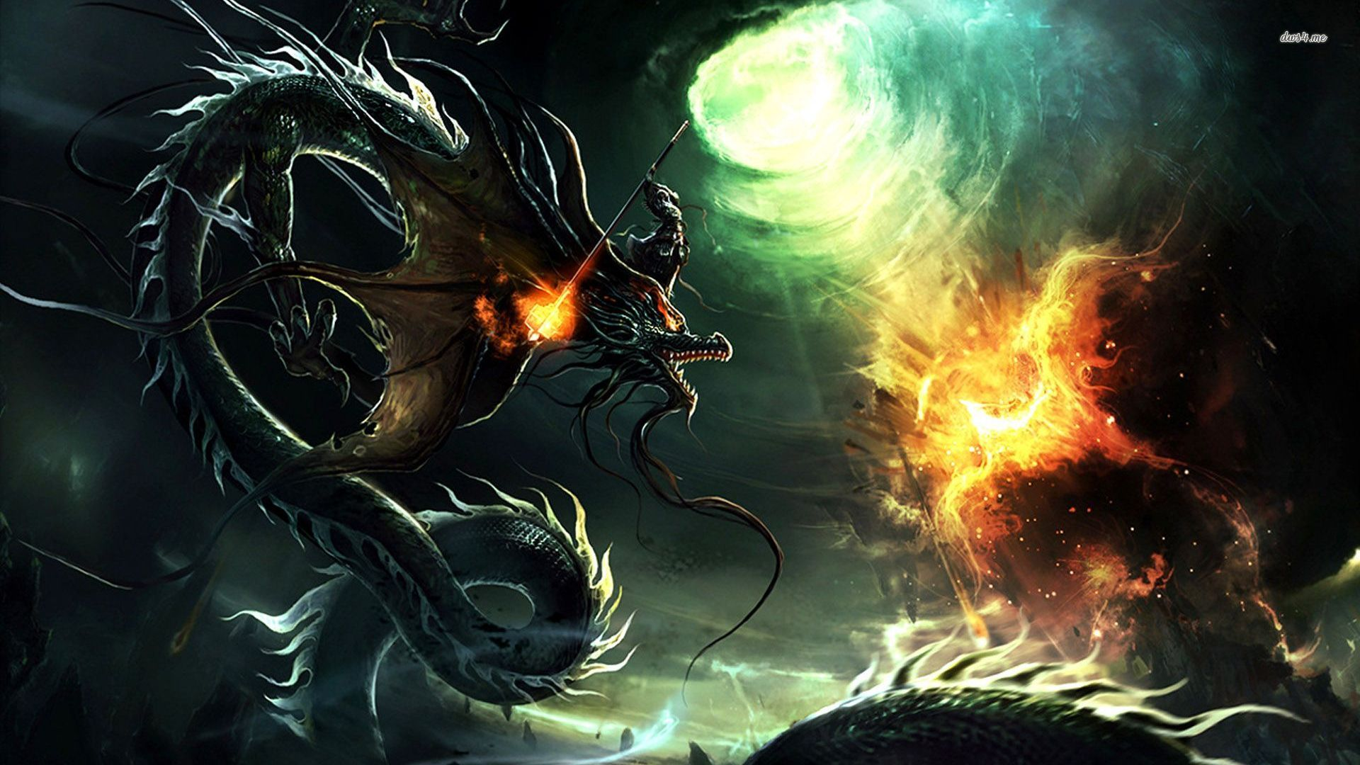 Dragon vs phoenix wallpaper Wallpaper Wide HD 1920x1080