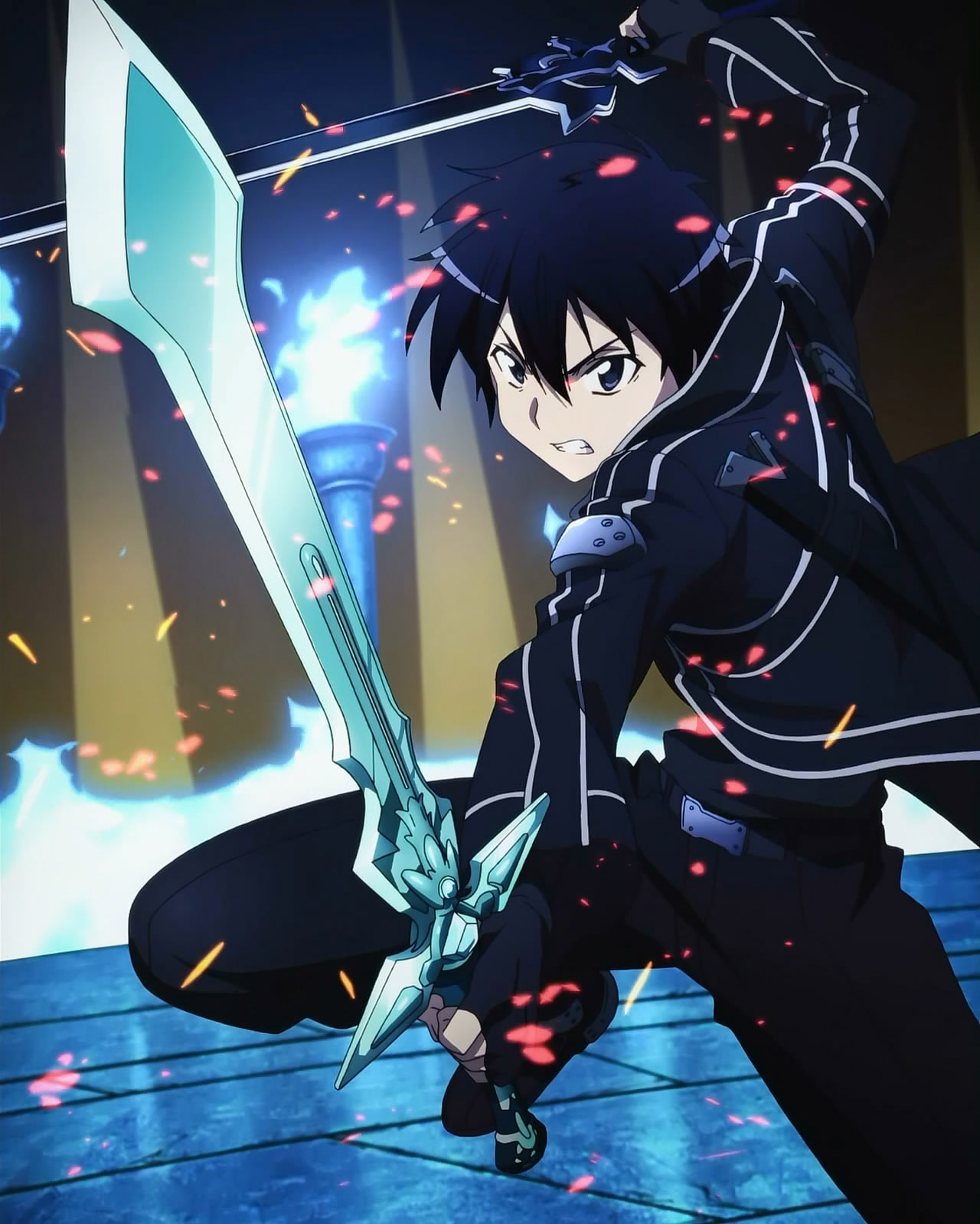 Kirito Dual Blades SAO Hd Wallpaper   HD Backgrounds 1280x1598