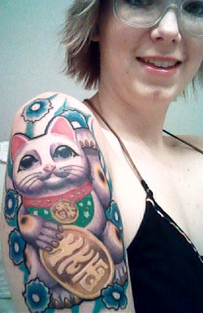 Japanese Lucky Cat Tattoos Maneki Neko Tattoo Pictures 416x640