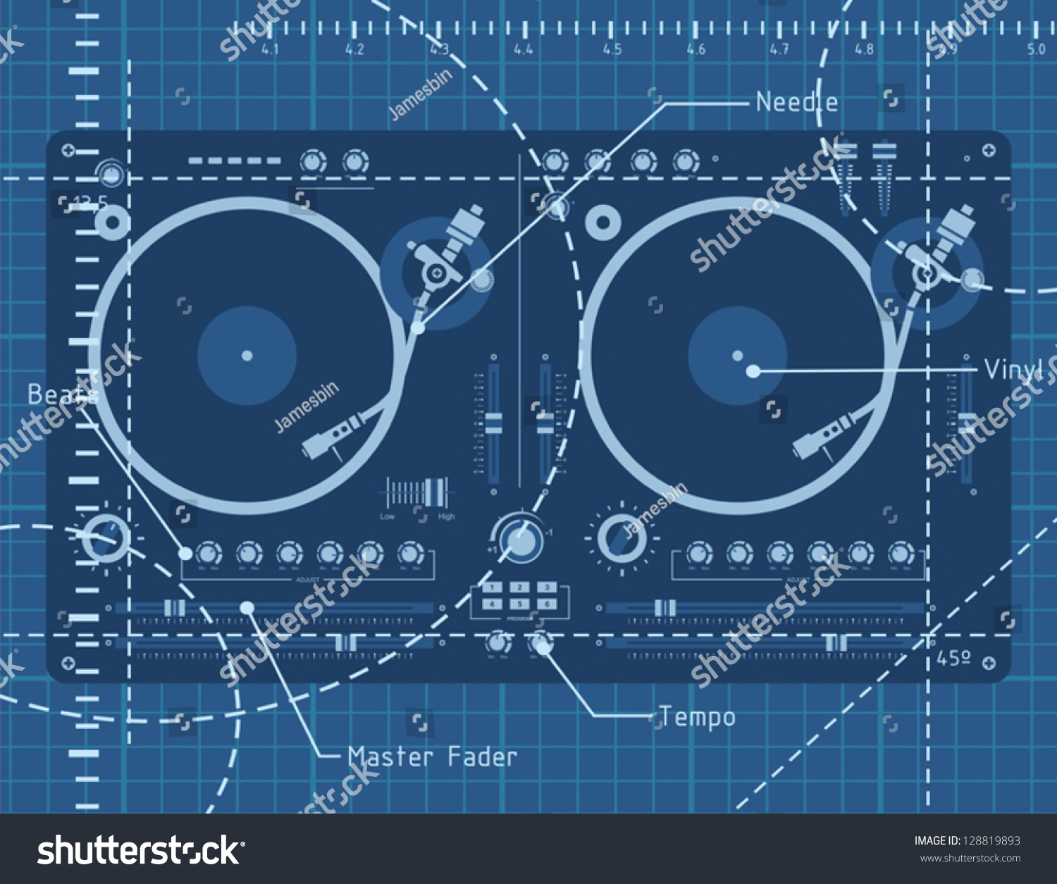 Dj Turntable Schematic Background Stock Vector Royalty 1500x1255