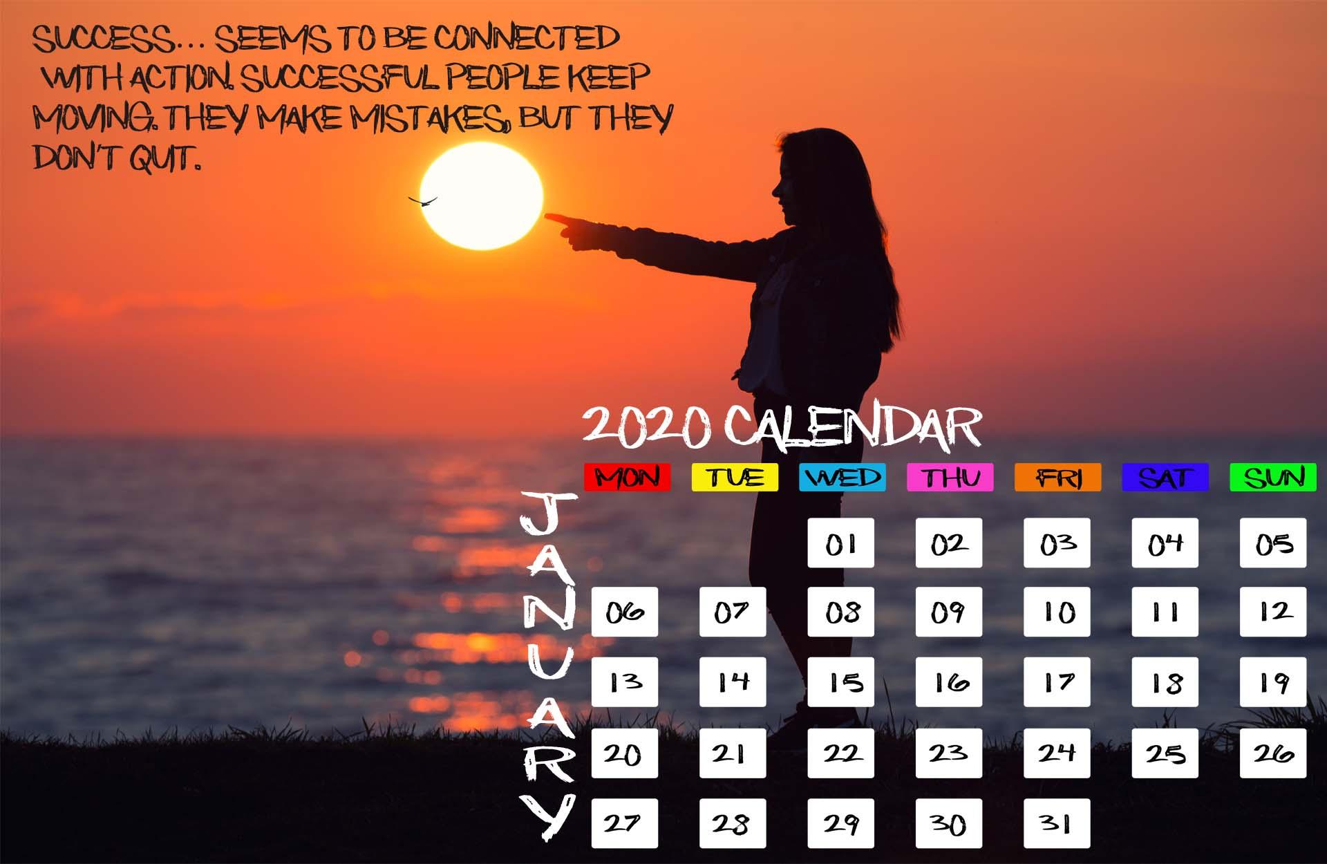 download January 2020 Calendar iPhone Desktop Mobile Tablet 1920x1250