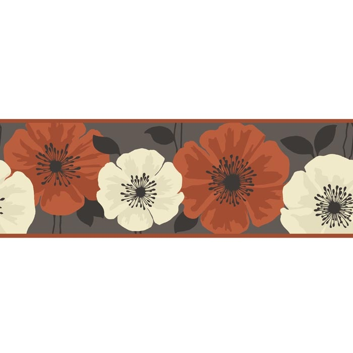 Poppie Designer Feature Wallpaper Border Brown Orange Flower eBay 700x700