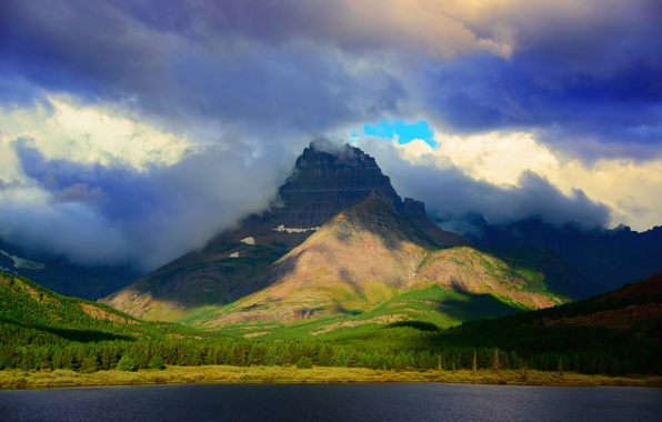 ... , mountain, forest, lake, sky, clouds wallpapers (photos, pictures