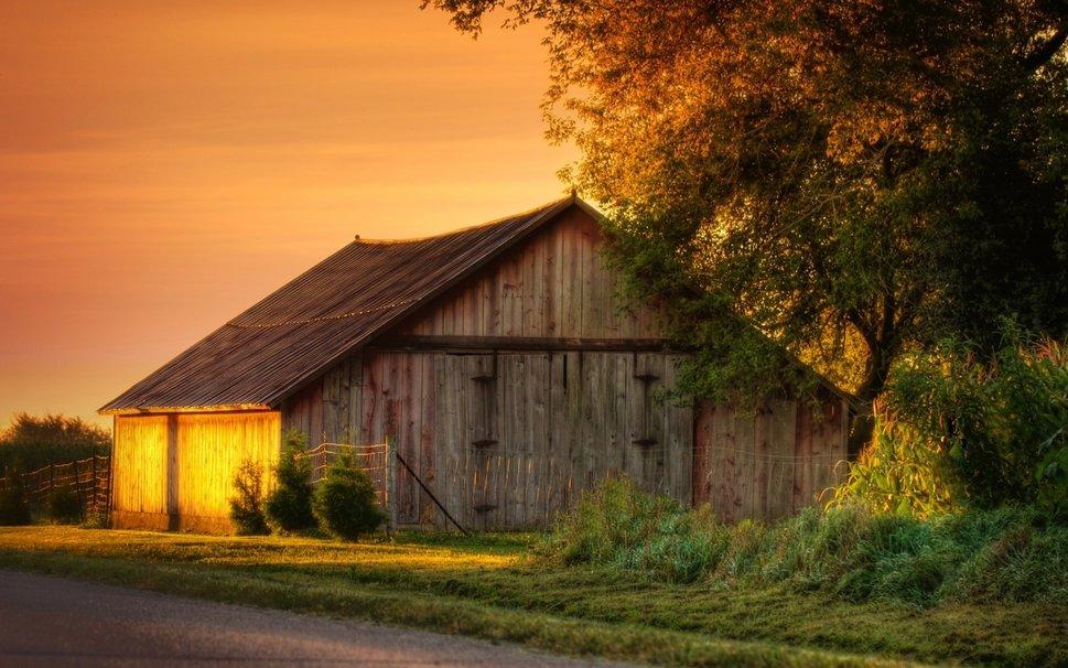 sunset on a barn hdr wallpaper   ForWallpapercom 969x606
