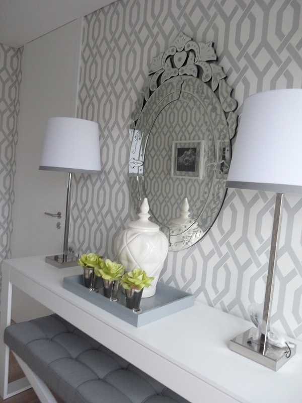 Trellis Wallpaper Grey and White Foyer Related Images 600x800