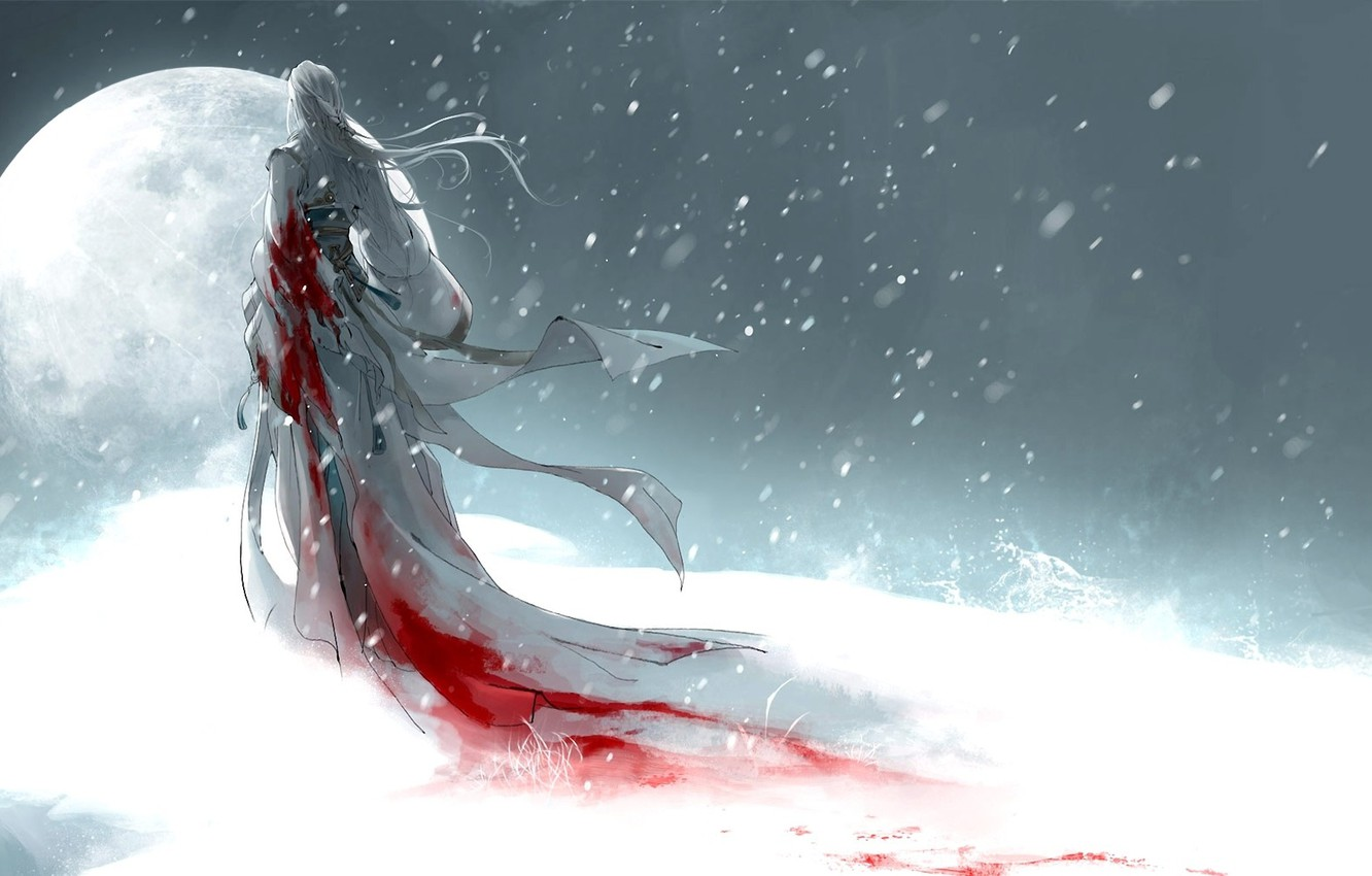 Wallpaper girl snow the moon blood art heise images for 1332x850