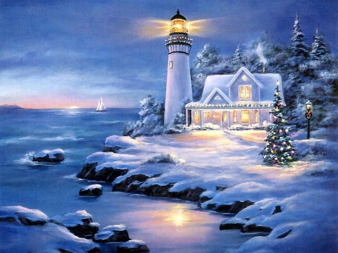 43+ Lighthouse Christmas Wallpaper on WallpaperSafari