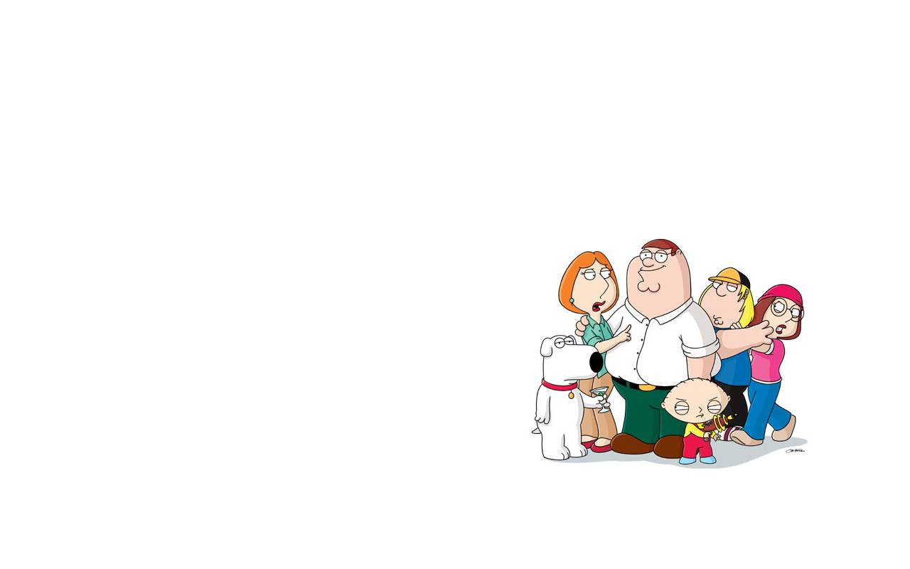 Family Guy Wallpaper A white wallpaper with the whole family on it 1280x800