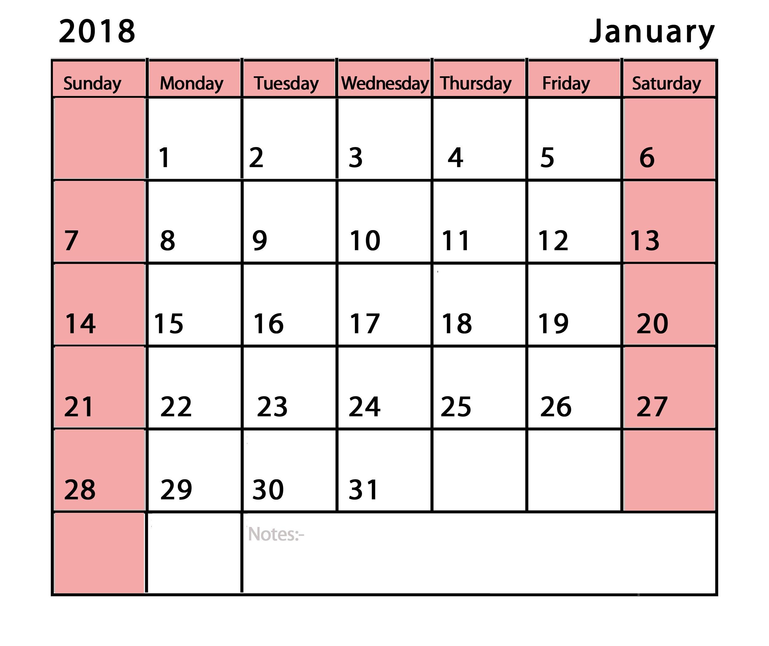 January 2018 Calendar Printable Pdf Template Latest 2500x2100