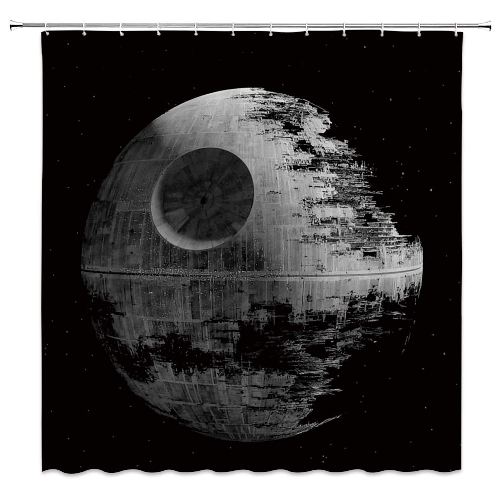Amazoncom Lileihao Death Star Shower Curtain for Star Wars Space 1000x1000