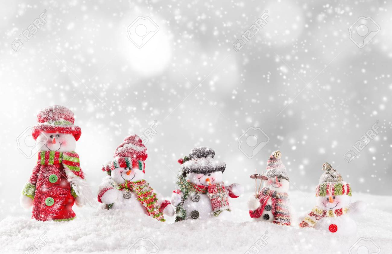 Christmas Background With Snowmen Stock Photo Picture And Royalty 1300x843