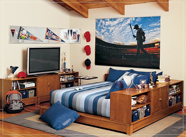 Teen Room Design With Blue Striped Bed And Wallpaper Pbteen Boys Room 617x454