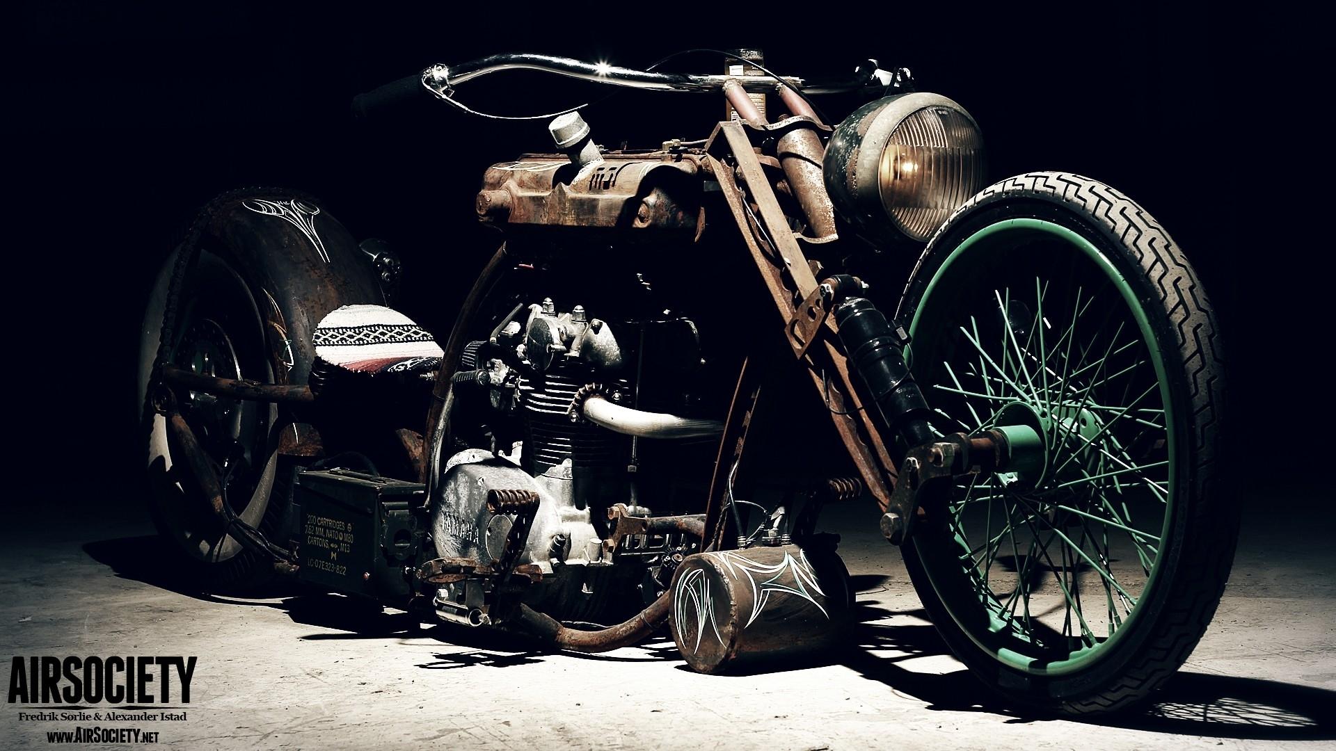 Bike custom chopper ride yamaha rust vehicles rats suspension 1920x1080