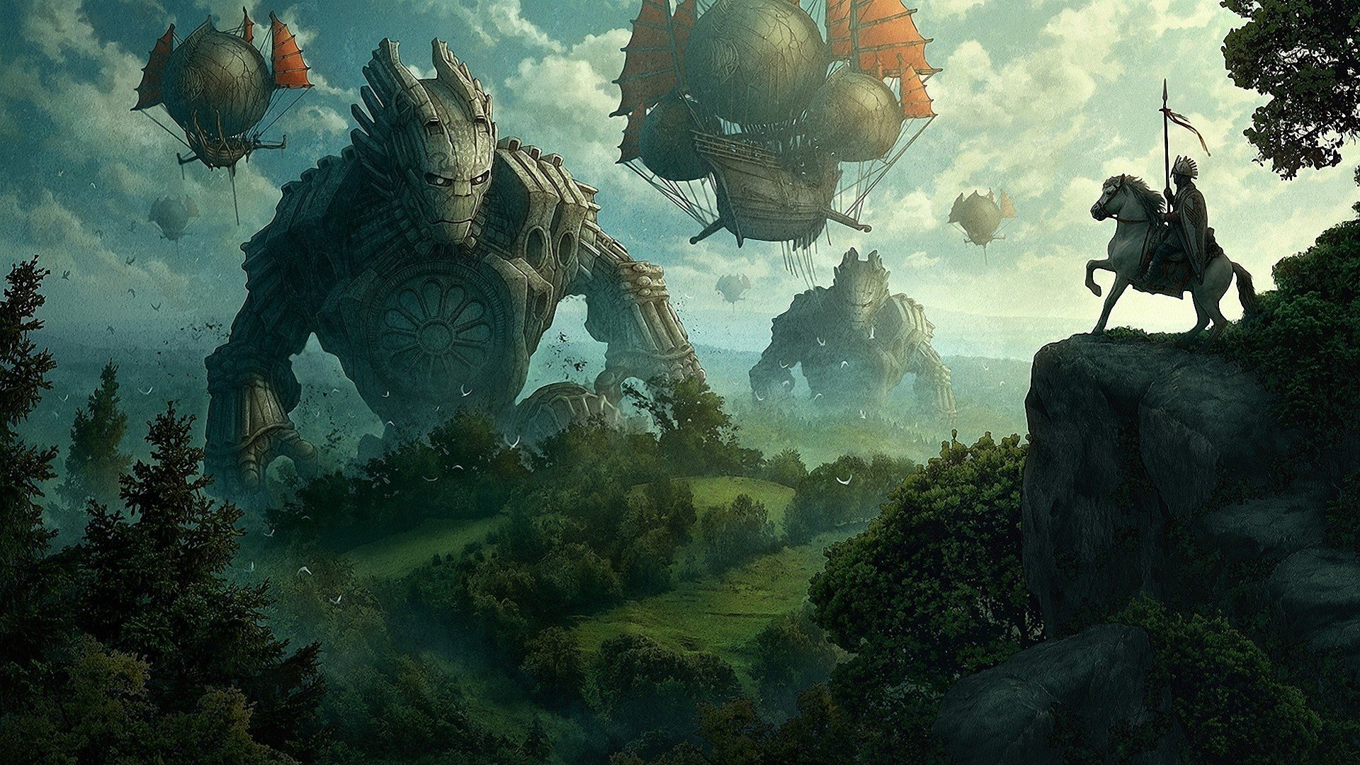 artwork medieval zeppelin air balloons skyscapes wallpaper background 1920x1080