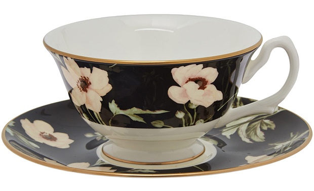 Ebony Poppium teacup and saucer 55 by House of Hackney from 620x377