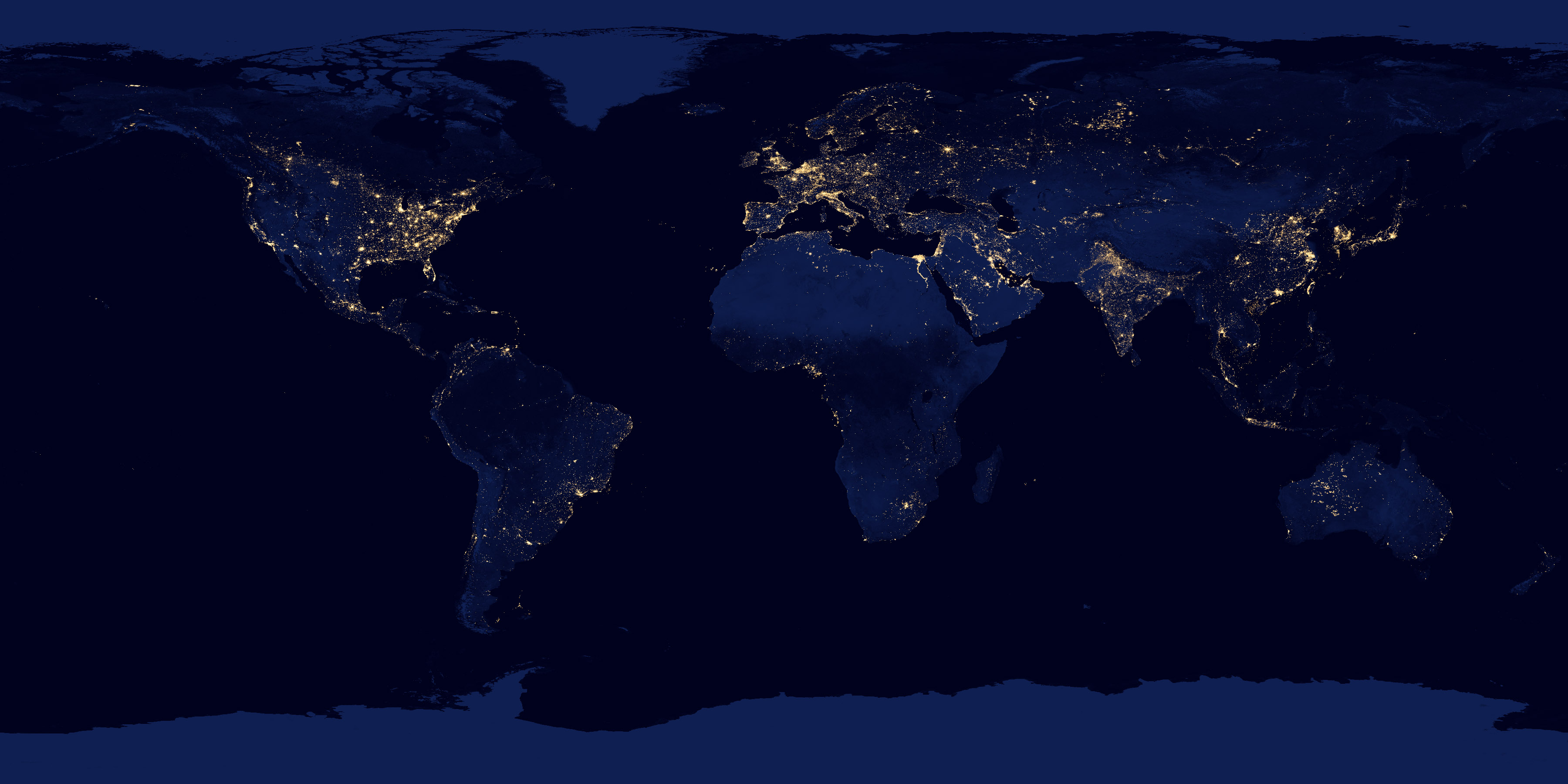 Never Before Seen Satellite View of Earths Cities at Night   CityLab 3600x1800