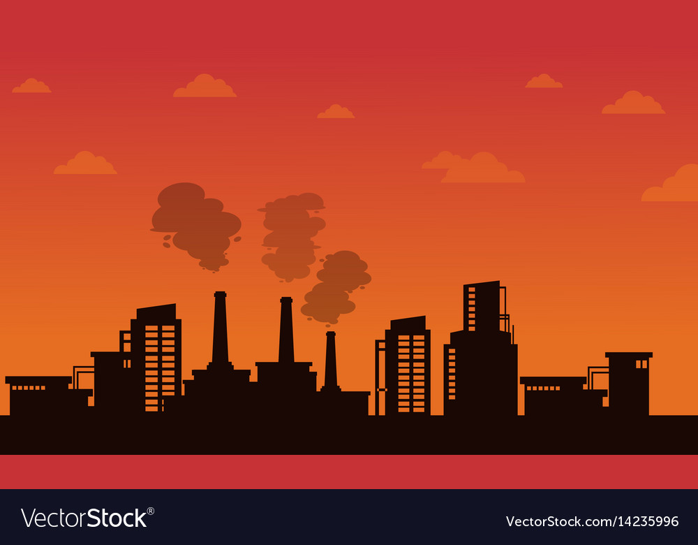 Pollution industry on orange background Royalty Vector 1000x780