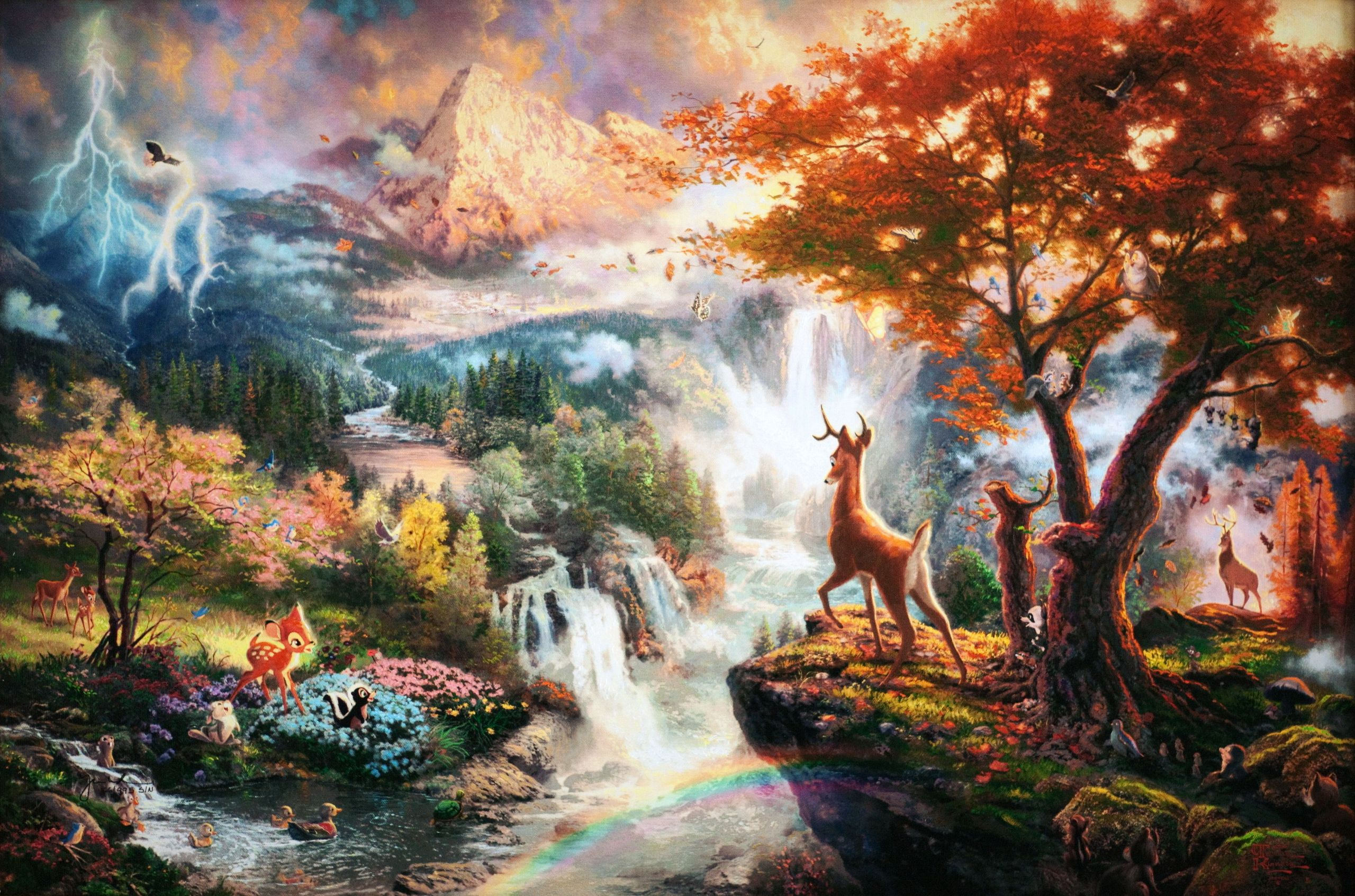 Thomas Kinkades Disney Paintings   Bambi   Walt Disney Characters 2560x1694