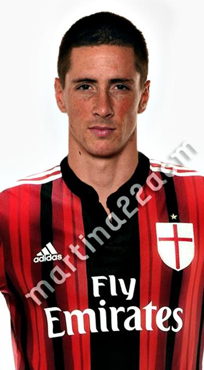 PHOTO Fernando Torres In Milan Jersey 406x734