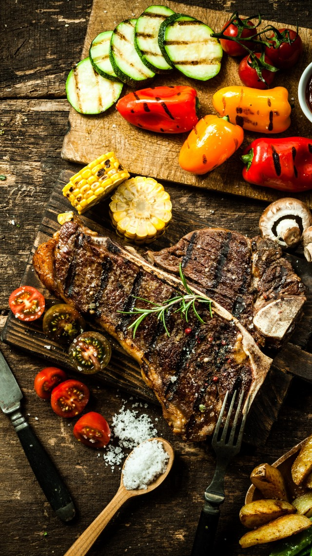 Wallpaper food cooking grill vegetables peppers mushrooms 640x1138