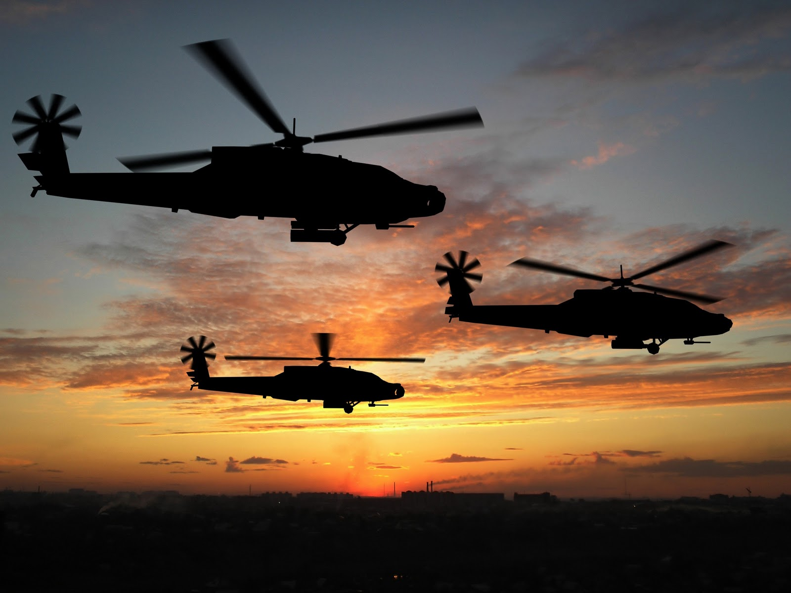 Apache Helicopters Sunset HD Wallpapers Download Wallpapers in HD 1600x1200