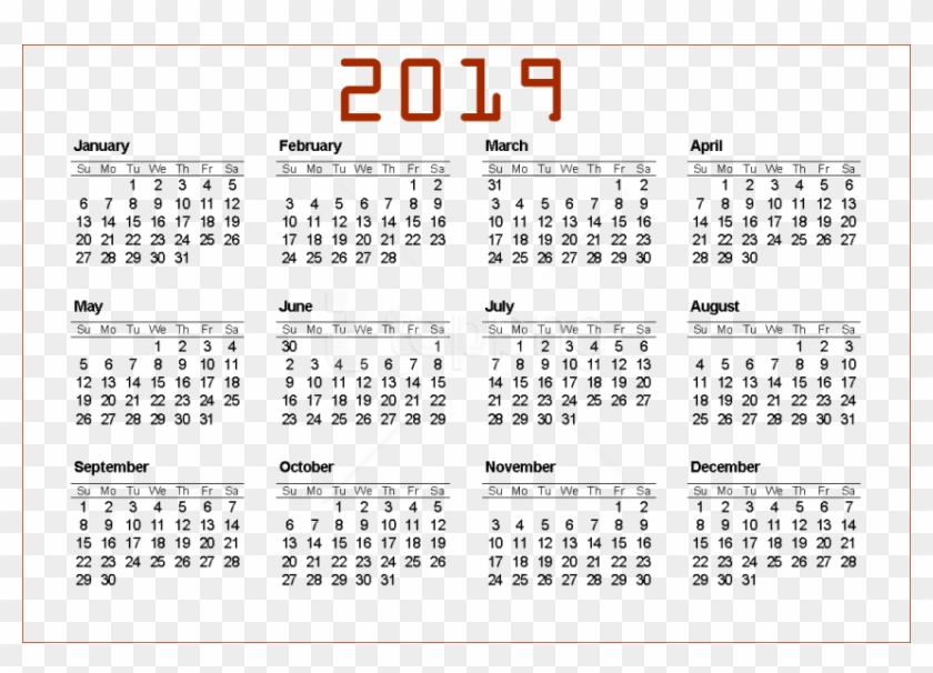 Png Download 2019 Calendar Png Png Images Background 840x606