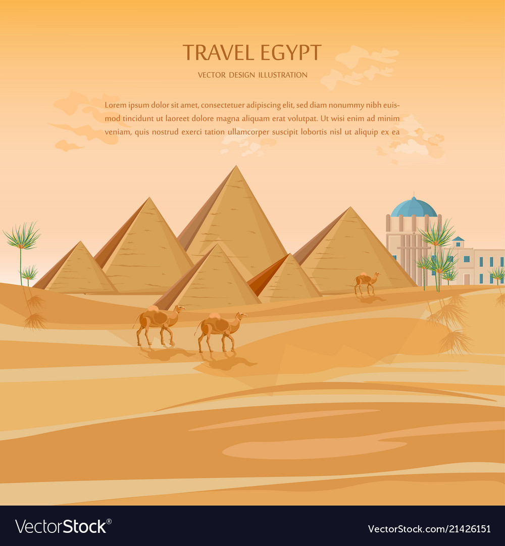 Egypt pyramids card background desert view Vector Image 1000x1080