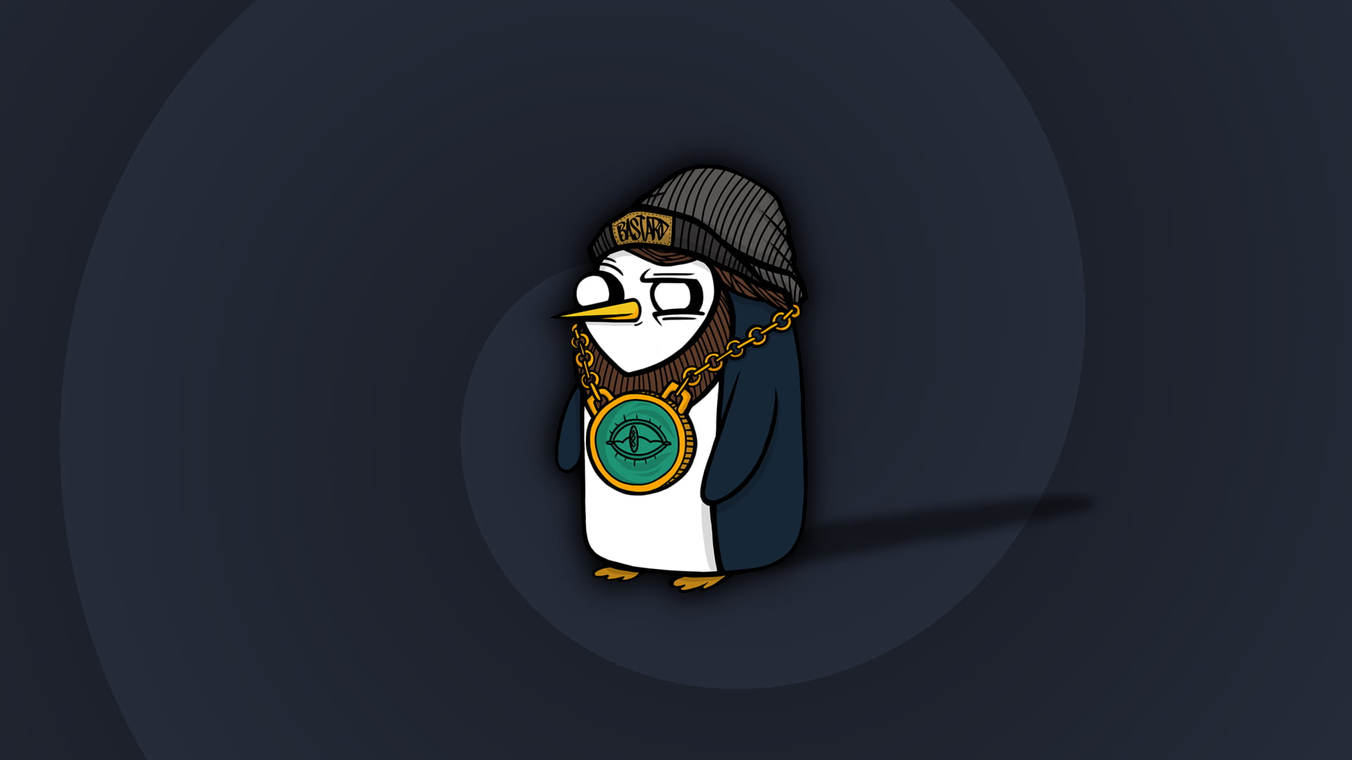 Penguin with bling and knit cap illustration HD wallpaper 1920x1080