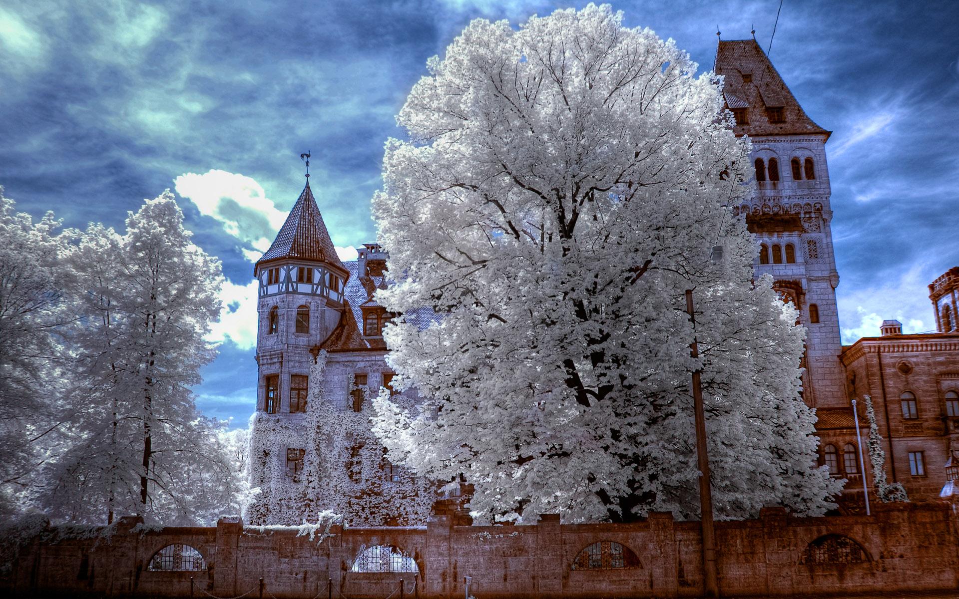 страны архитектура природа деревья ночь  № 3716980 бесплатно