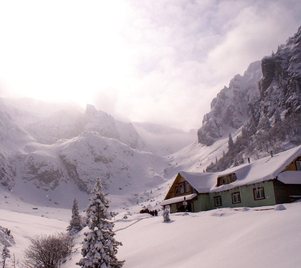 backgroundnaturesnowpinktwilightsnow mountainscabinlog cabin 960x854