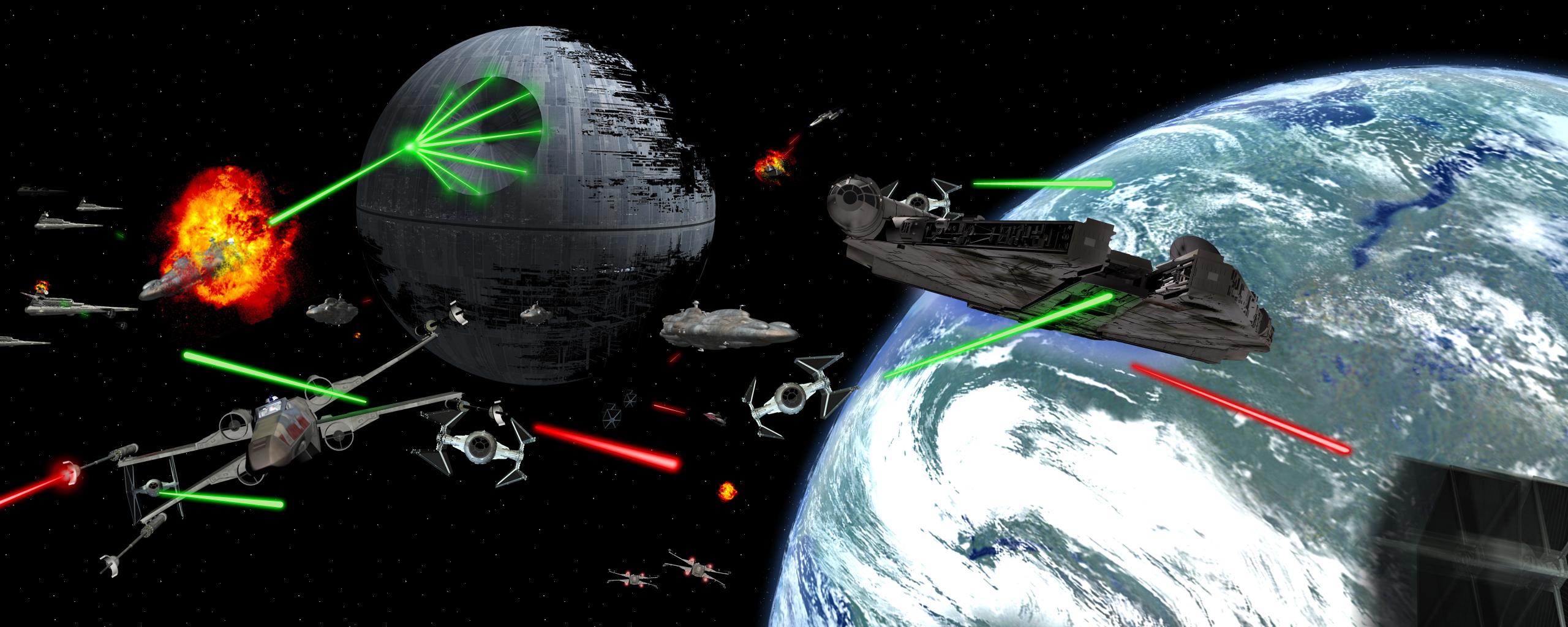 Star Wars Space Battle Wallpaper The battle of endor by goyneyjpg 2560x1024