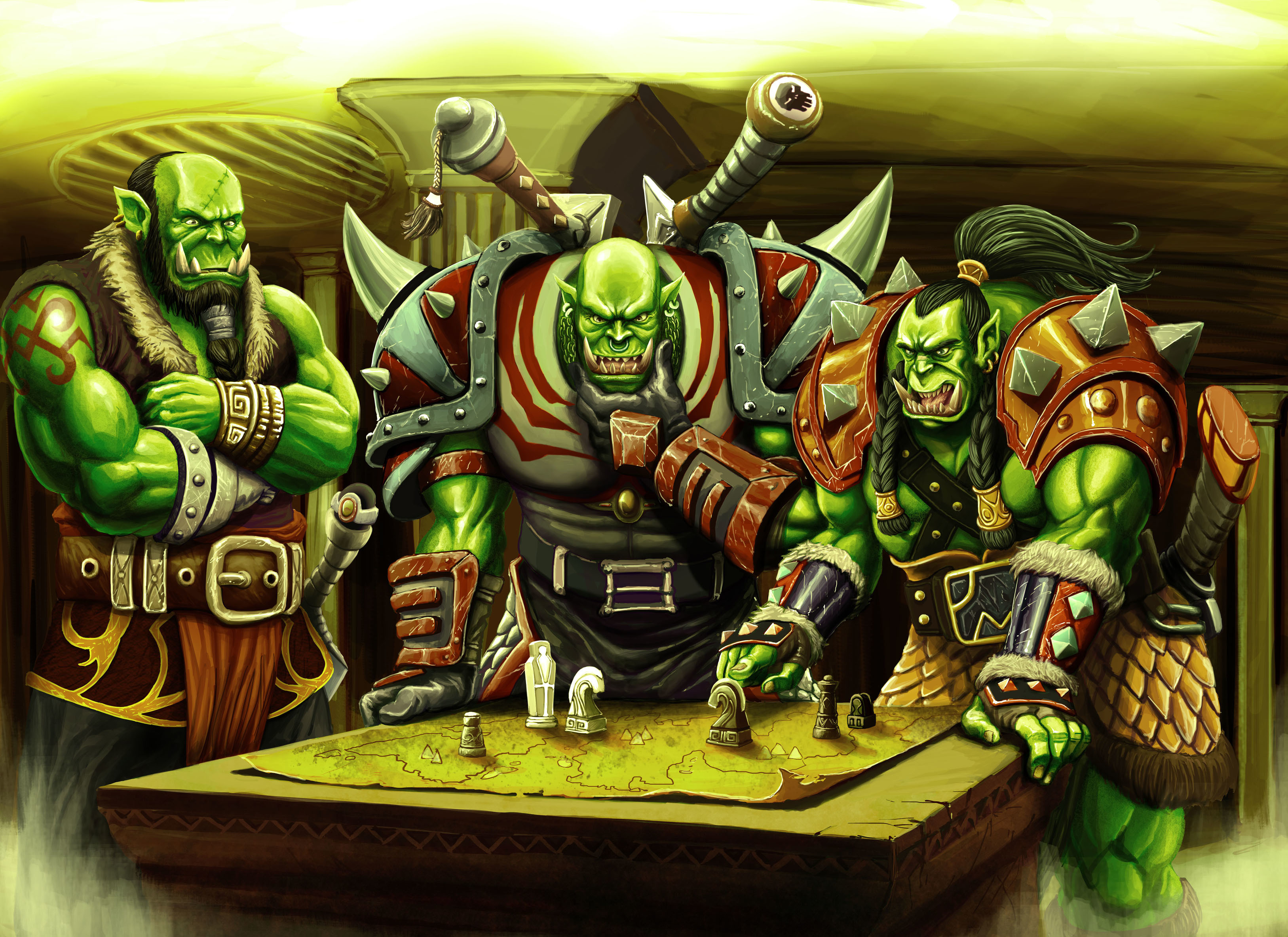 World of WarCraft WoW Orc Warrior Table Game Fantasy wallpaper 3254x2367