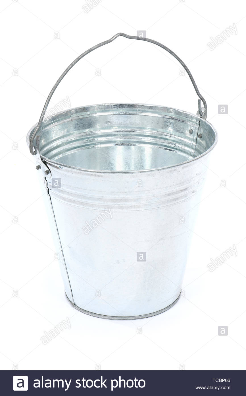 Empty metal bucket isolated on white background High resolution 866x1390