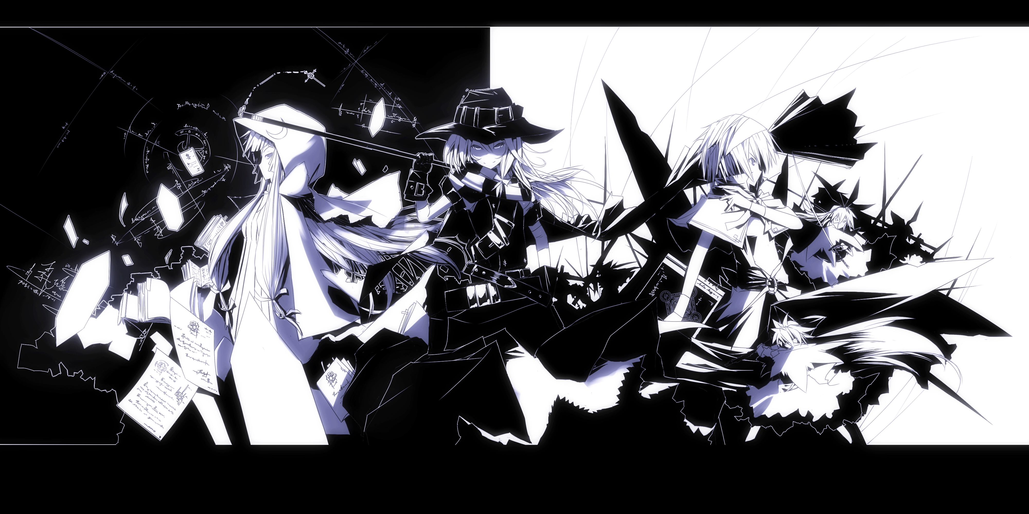 marisa monochrome hoodies anime badass HD Wallpaper of Anime Manga 4000x2000