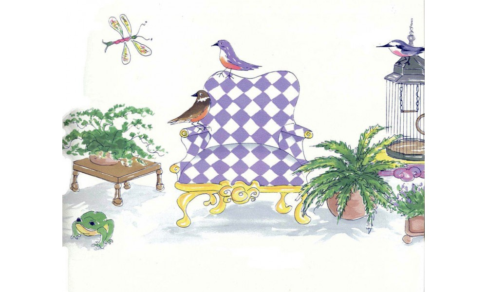 Home Birds Check Chair Wallpaper Border 1000x600