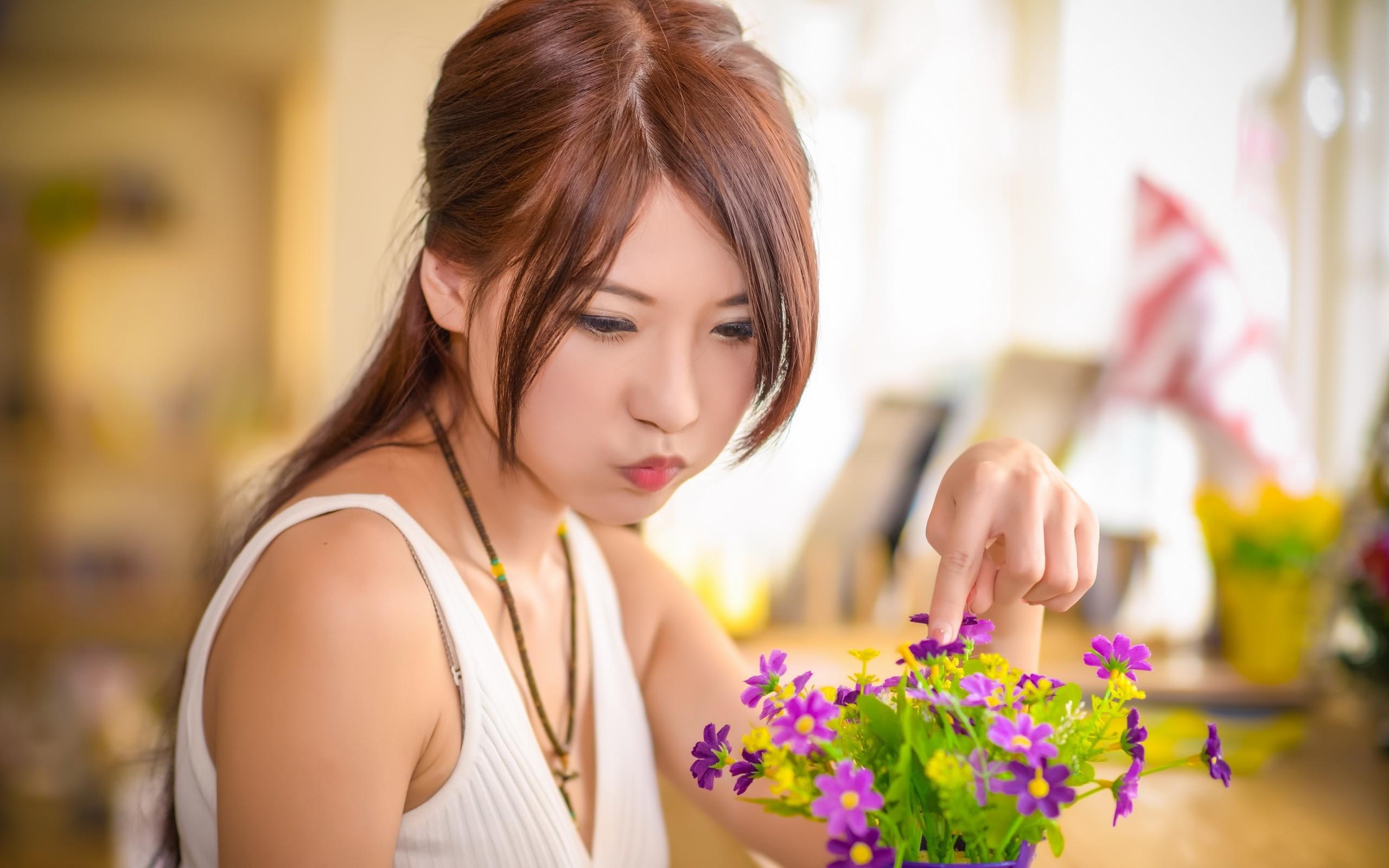 Wallpaper women model flowers long hair Asian spring skin 2560x1600