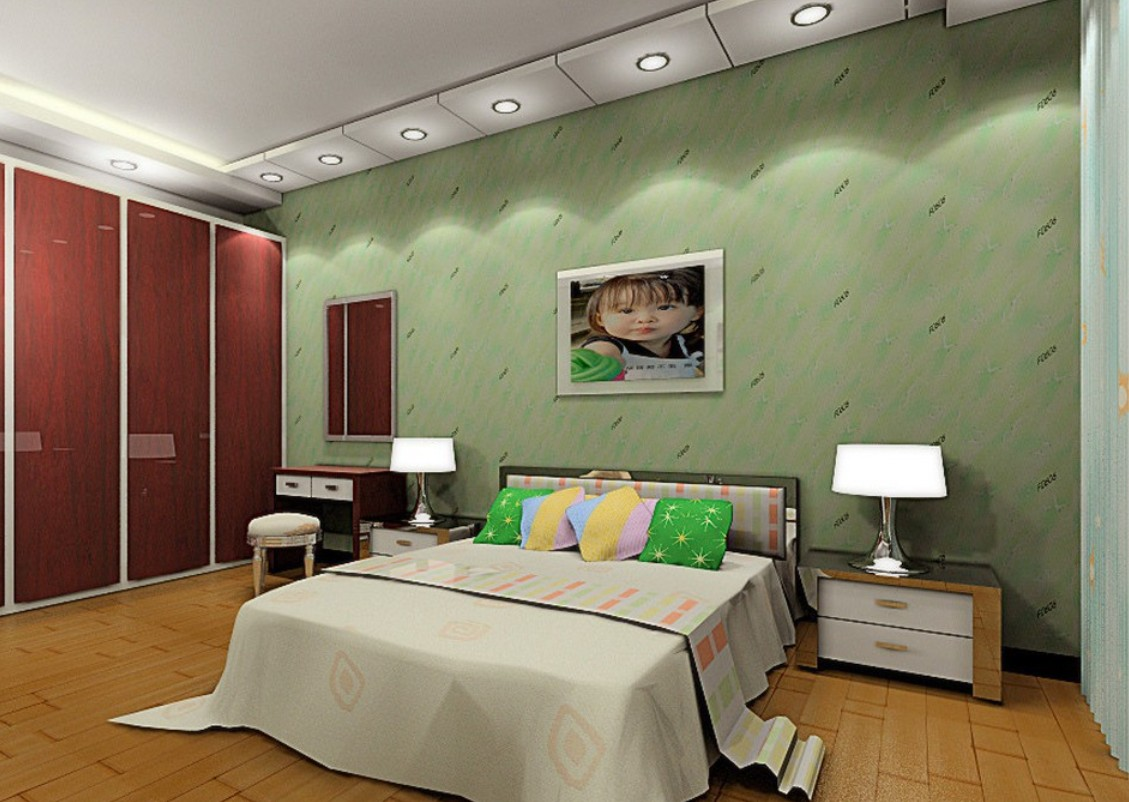 Pale green wallpaper master bedroom 3D house 3D house pictures 1129x802