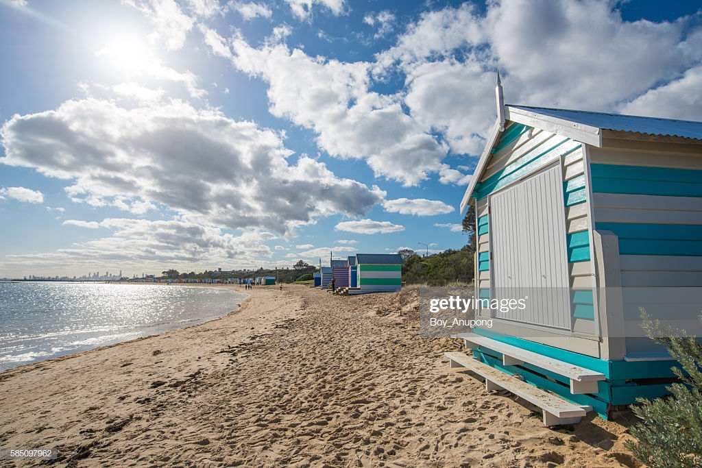 The Bathing Boxes On Dendy Street Beach With Middle Brighton Pier 1024x683