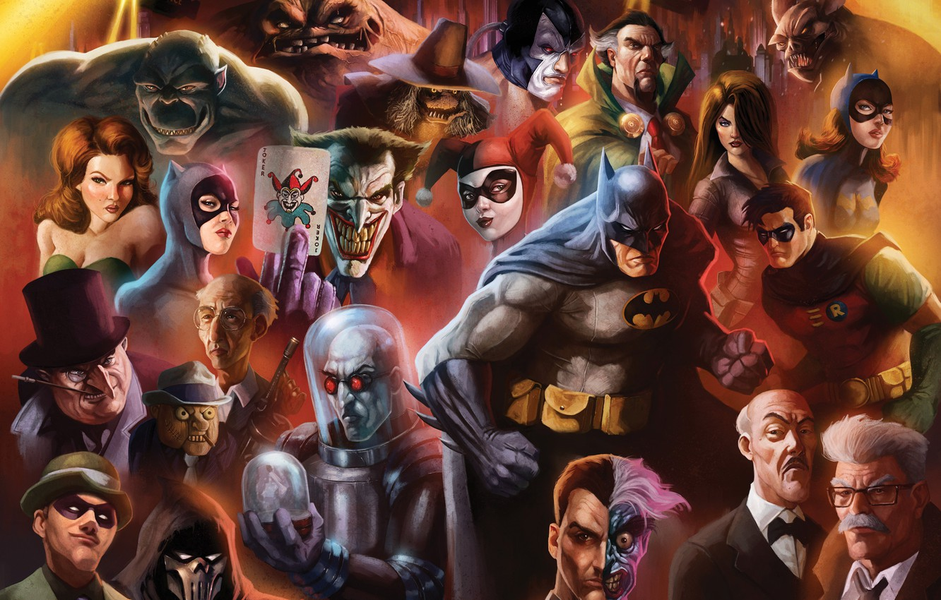 Wallpaper art Batman characters Cat woman Penguin DC Comics 1332x850