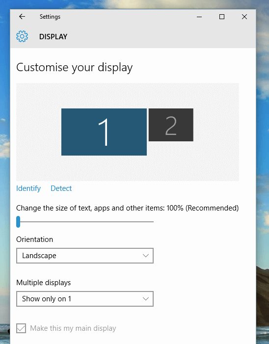 Display Settings with Dual Monitors on a Windows 10 Computer 548x701