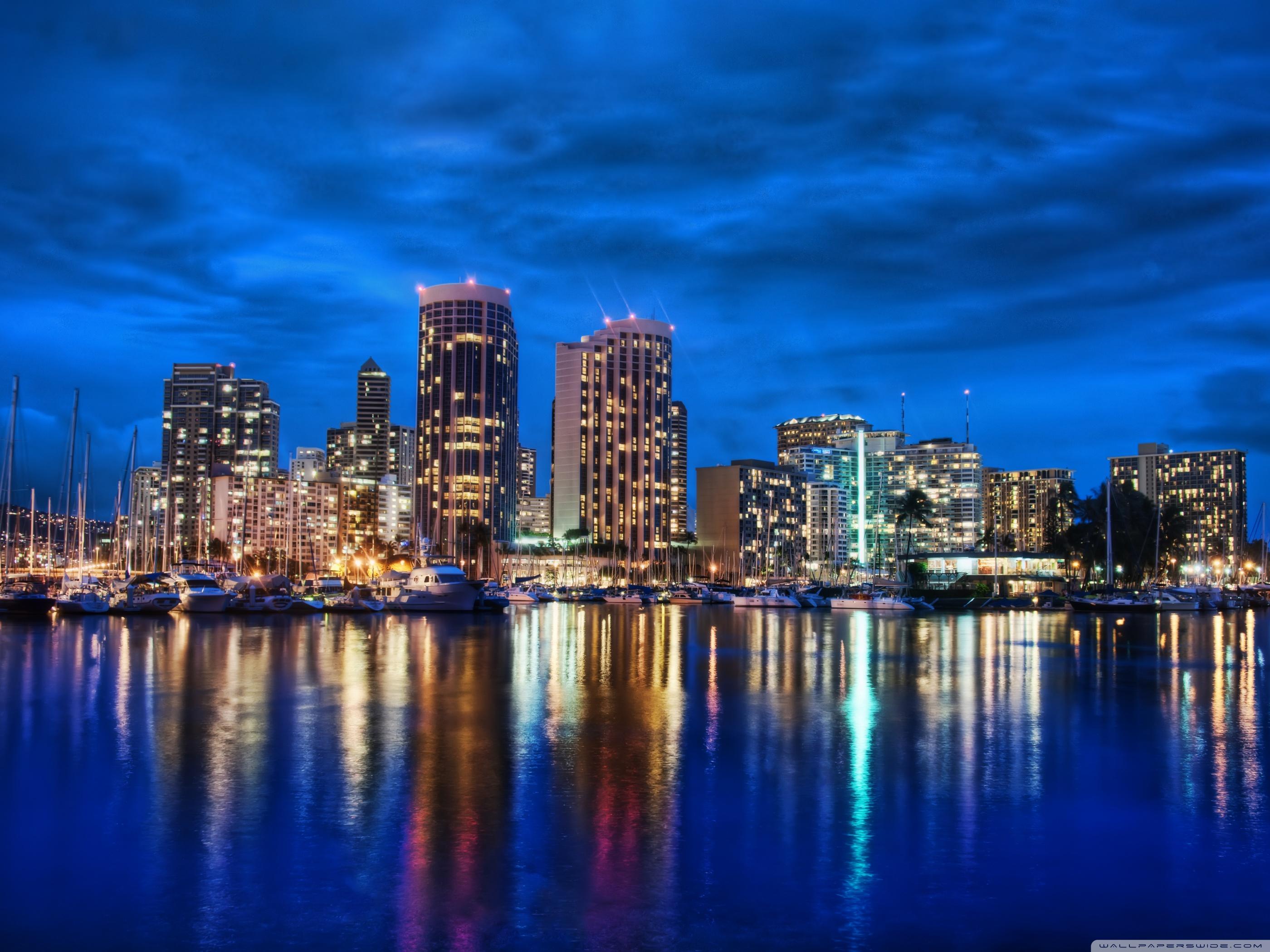 Waikiki Skyline At Night 4K HD Desktop Wallpaper for 4K Ultra 2800x2100