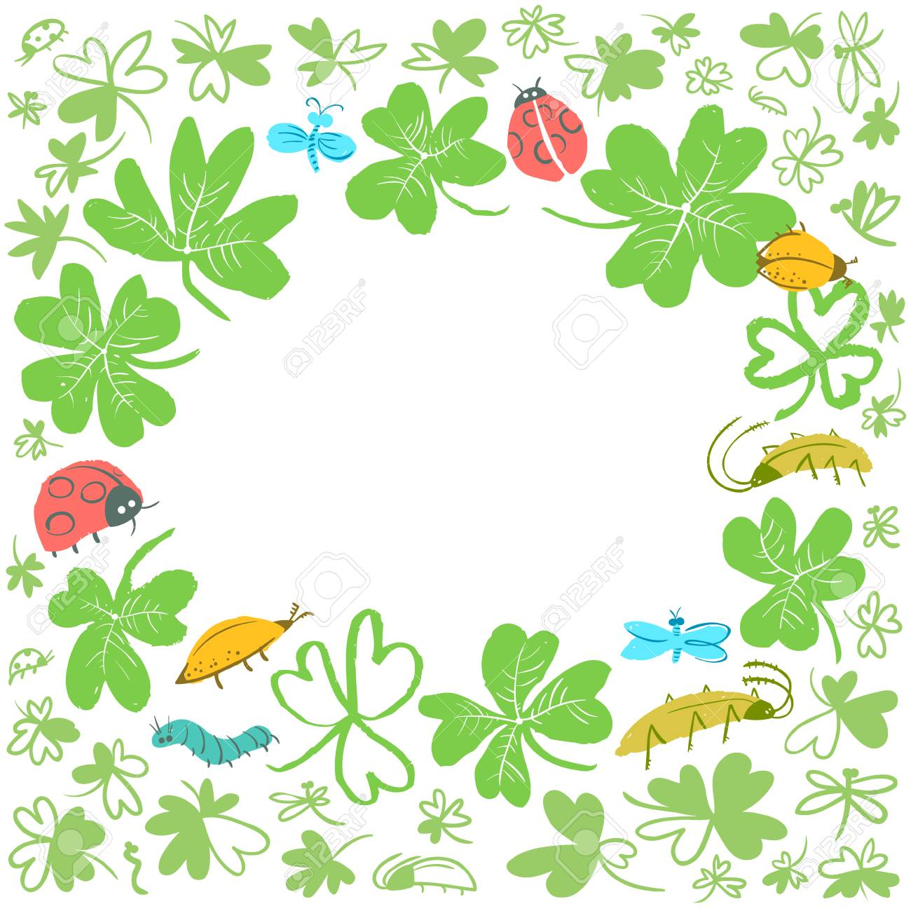 Frame With Clover Leaves And Insects Background With Cute Bugs 1300x1300