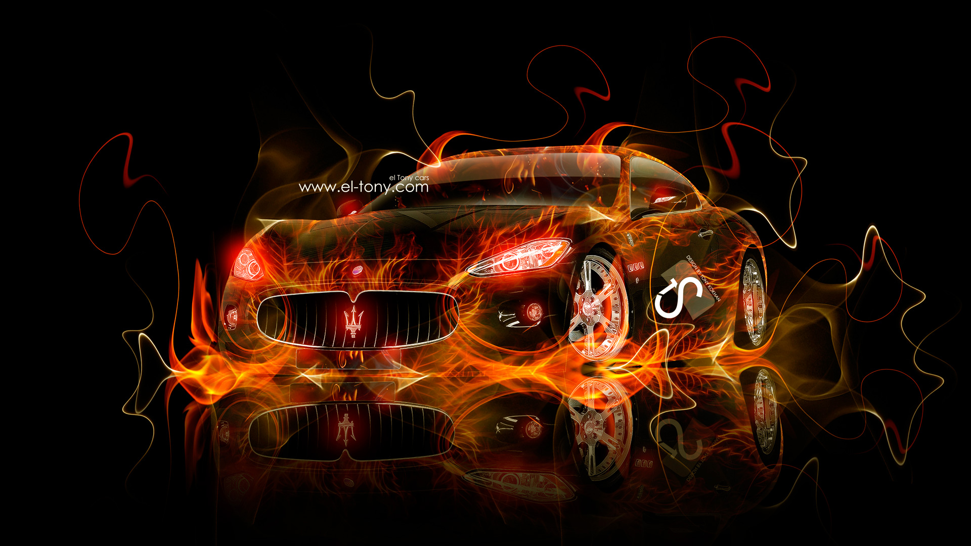 Maserati Granturismo Fire Car 2013 HD Wallpapers design by Tony Kokhan 1920x1080