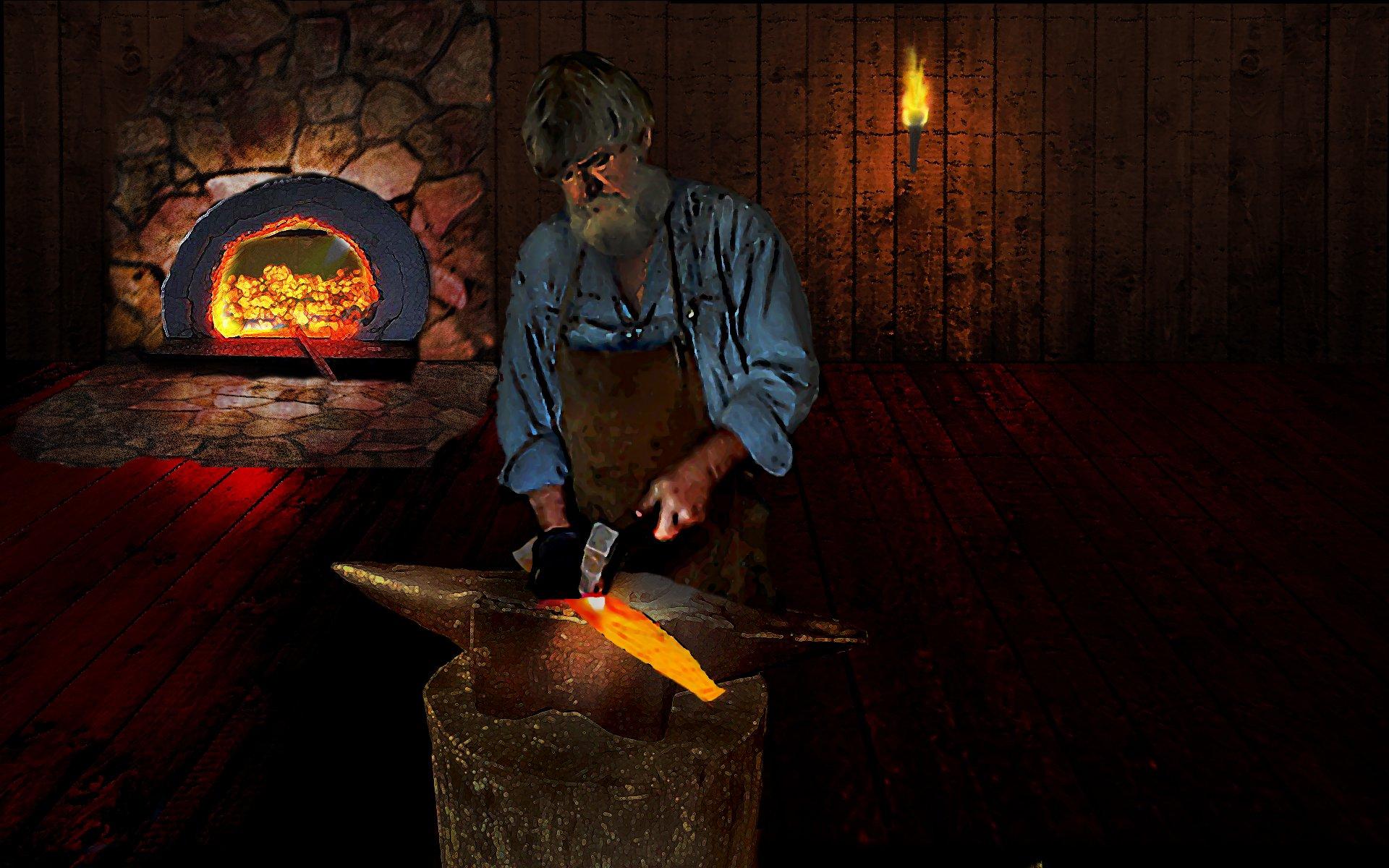 dark Blacksmith Smithie Forge Craftsman Hot Coal Wallpapers 1920x1200