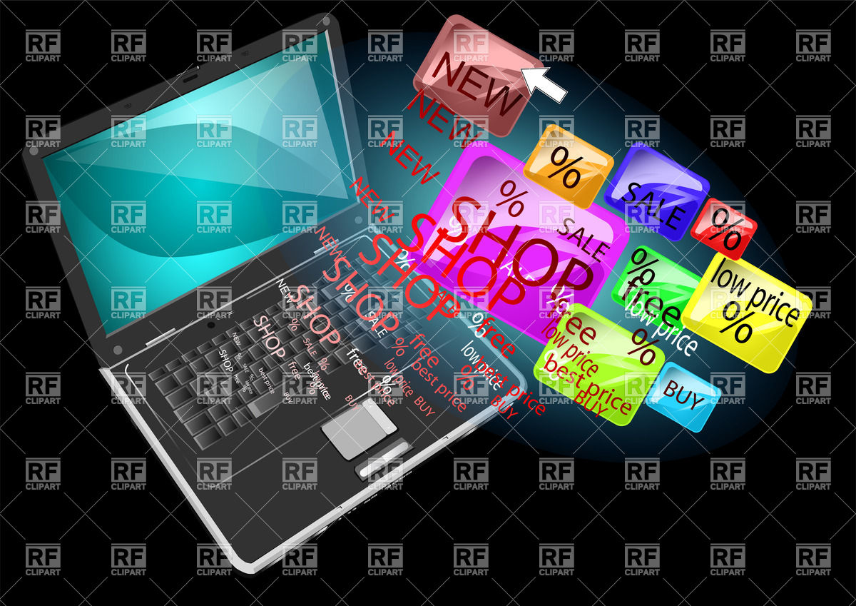 Online shopping   abstract background with laptop Vector Image of 1200x849