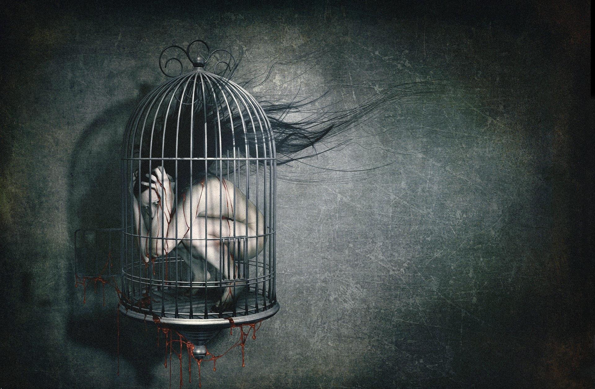 Download Dark horror creepy blood macabre cage sad sorrow 1920x1255