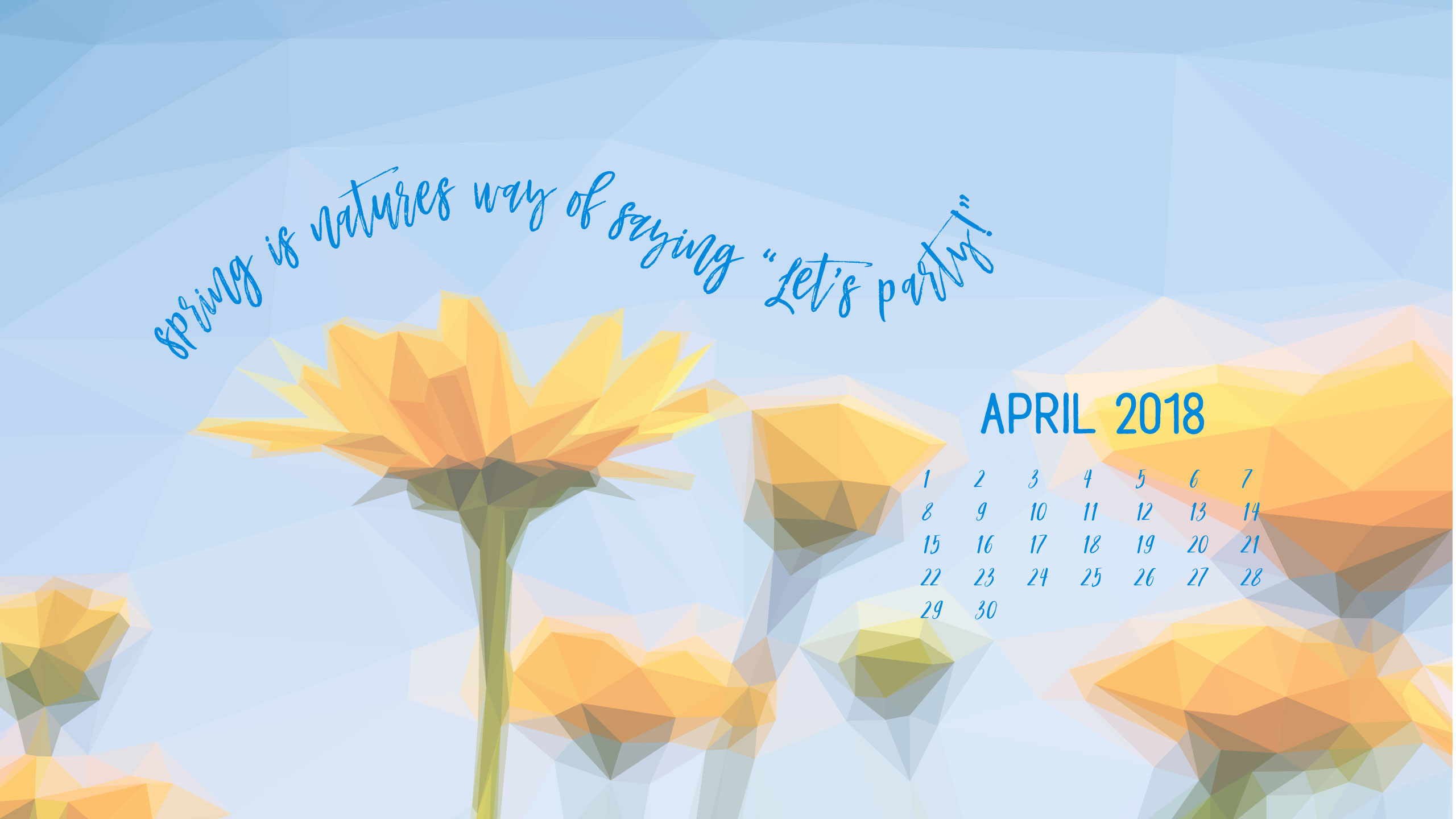 Geometric Daffodils April Digital Wallpapers 2560x1440